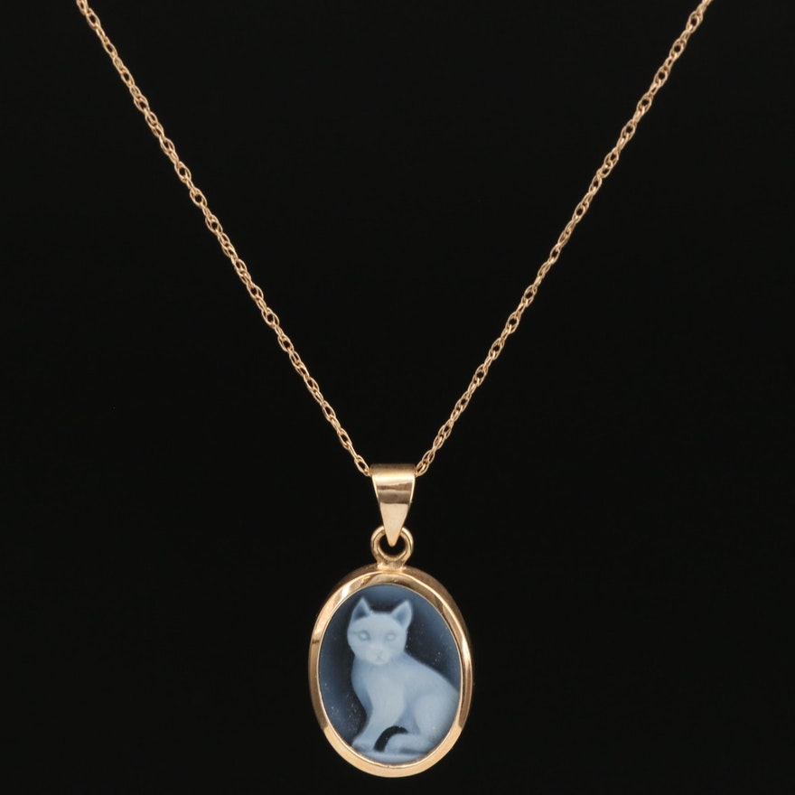 14K Carved Onyx Cat Pendant Necklace