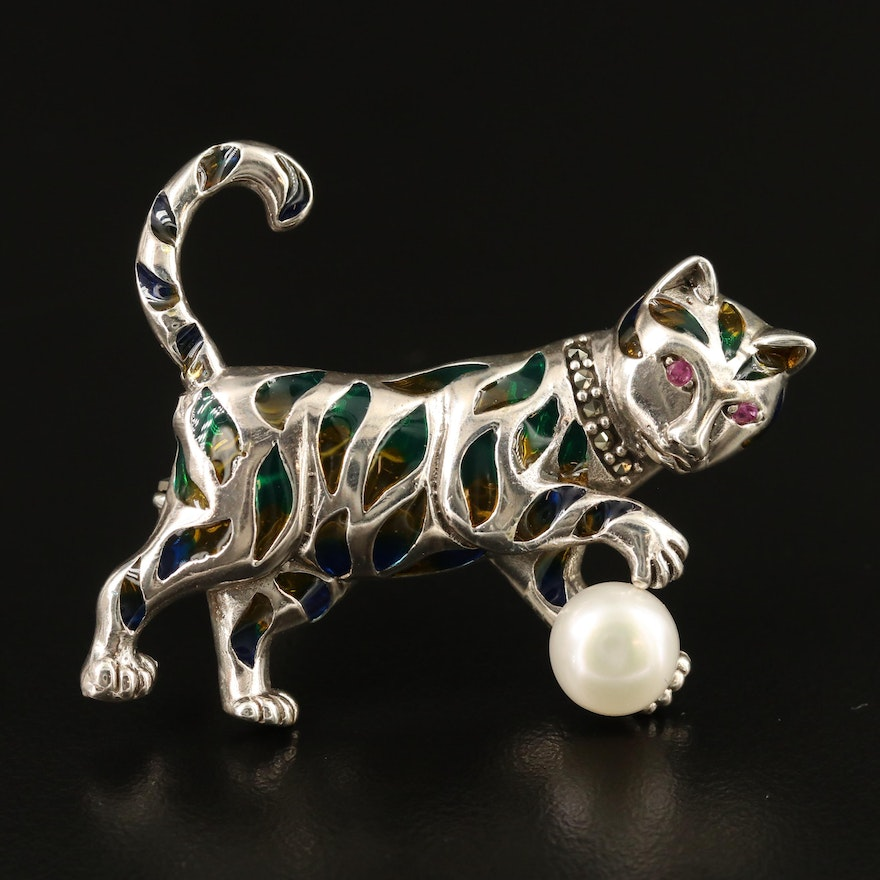 Sterling Silver Pearl, Corundum and Marcasite Cat Brooch