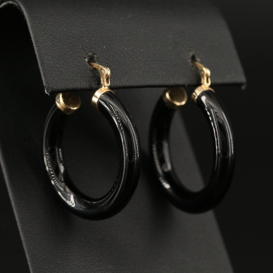 14K Black Onyx Hoop Earrings
