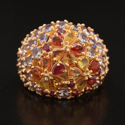 Sterling Sapphire, Tanzanite and Garnet Bombé Ring