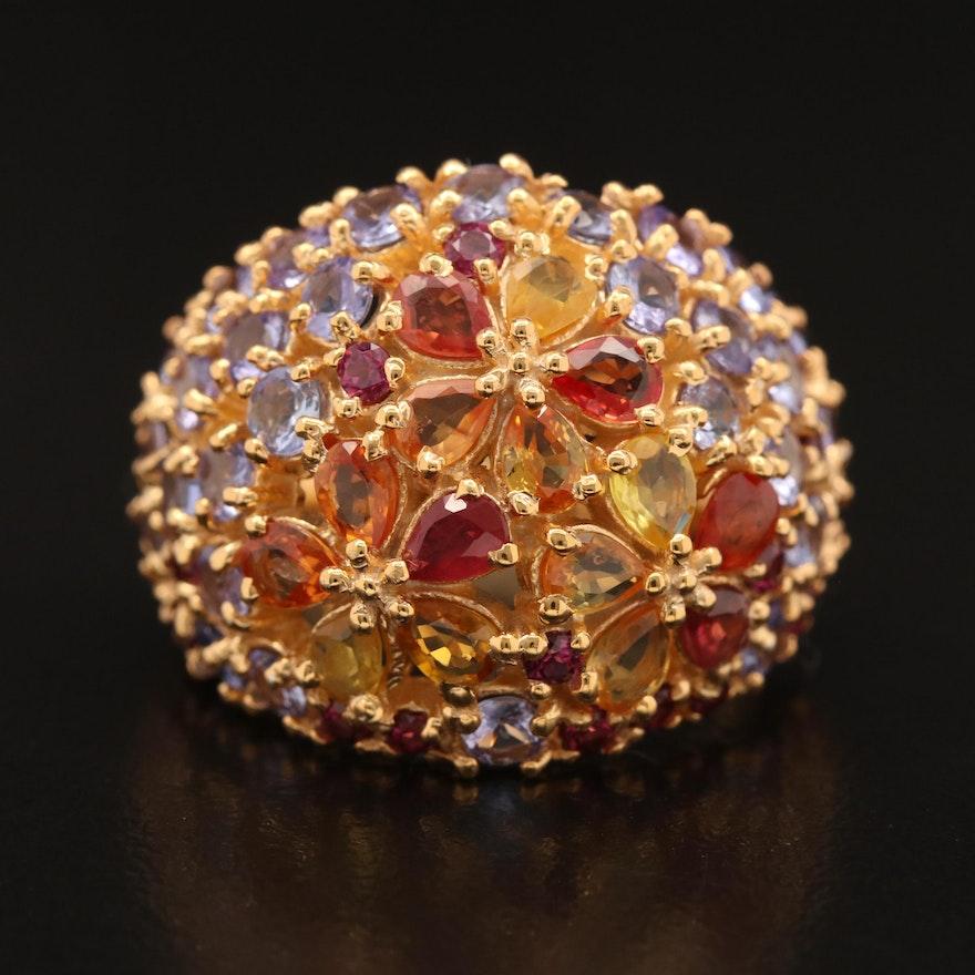 Sterling Sapphire, Tanzanite and Garnet Bombé Ring