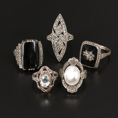Vintage Mixed Silver Rings Including Black Onyx, Marcasite and Aquamarine