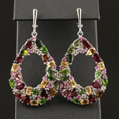 Sterling Teardrop Cluster Earrings Featuring Garnet, Diopside and Corundum