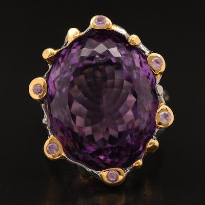 Sterling Silver Amethyst and Sapphire Ring with Organic Motif
