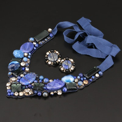 Lapis Lazuli and Agate Bib Necklace with Matching Clip-On Earrings