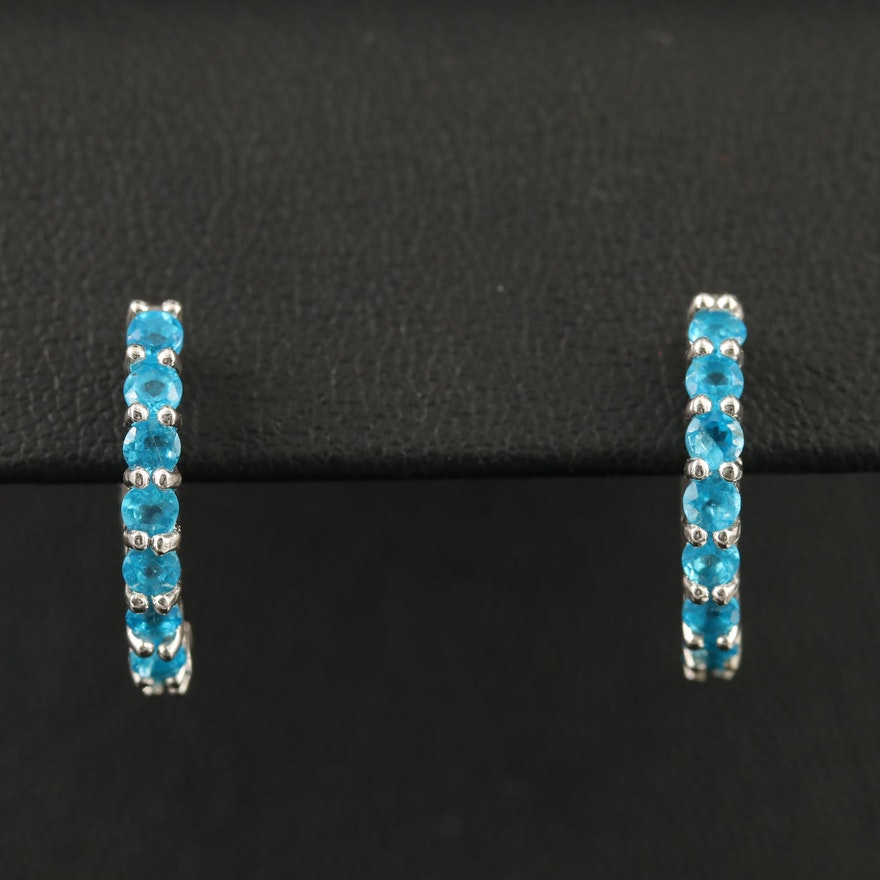 Sterling Silver Apatite Huggie Earrings
