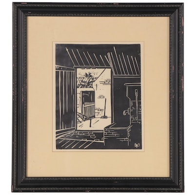 Woodcut Attributed to William Van Dijk of a Courtyard Doorway, Mid-20th Century