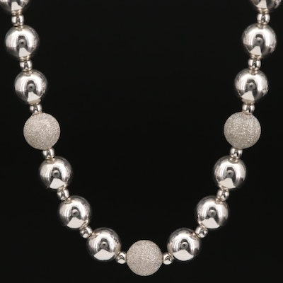 Sterling Silver Bead Necklace with Textured Stations