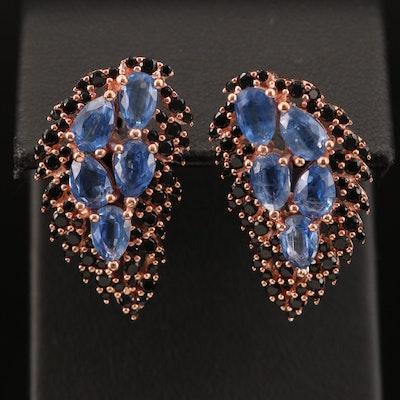 Sterling Silver Kyanite and Black Onyx Earrings