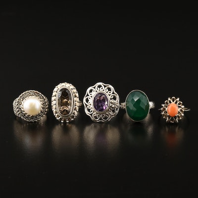 Sterling Rings Including Coral, Glass, Pearl and Amethyst