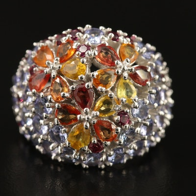 Sterling Silver Sapphire, Tanzanite and Garnet Domed Floral Ring