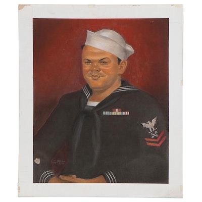 Joseph Di Gemma Navy Portrait Pastel Drawing, Late 20th Century