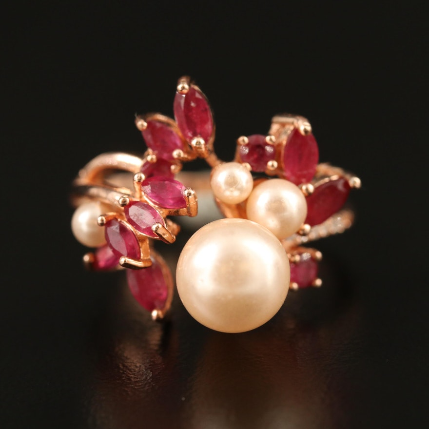 Sterling Silver Pearl, Ruby and Cubic Zirconia Cluster Ring