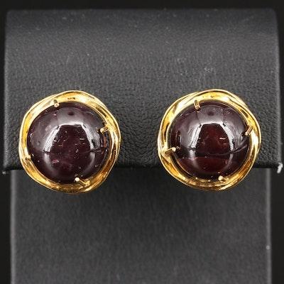 14K Star Diopside Button Earrings