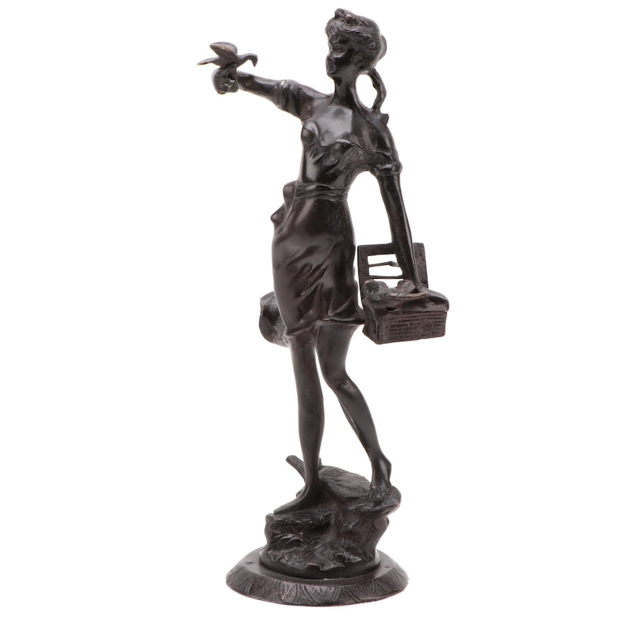 Patinated Metal Sculpture of Woman with Birds After Émile Guillemin