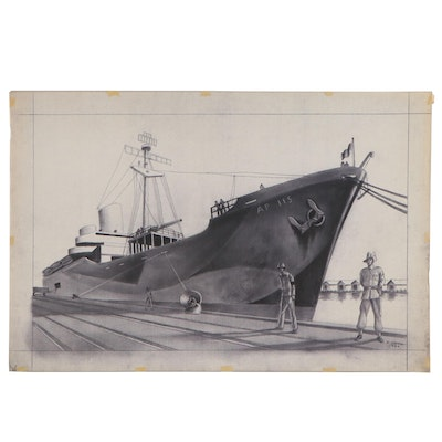 Joseph Di Gemma Photogravure of Navy Transport Ship, Late 20th Century