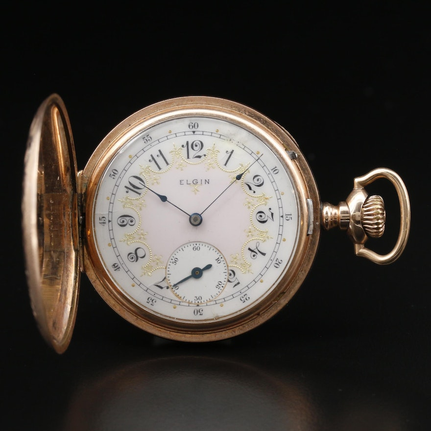 """1912 Elgin """"Father Time"""" Gold Filled Hunters Case Pocket Watch"""