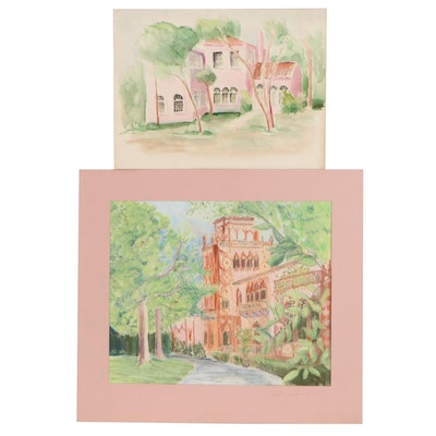 Scott Thompson Watercolor Painting and Pastel Drawing, Late 20th Century
