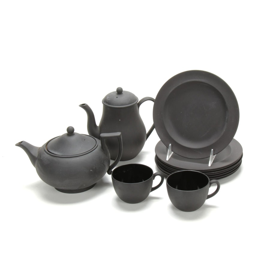 """Wedgwood """"Basalt Black"""" Bisque Porcelain Tableware, Mid to Late 20th C."""
