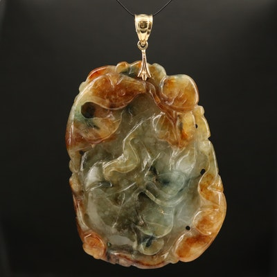 Carved Floral and Fawna Jadeite Pendant with 14K Bail