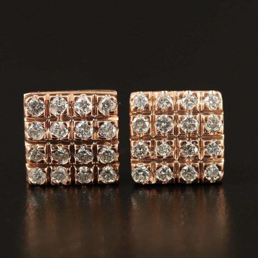 14K 1.02 CTW Diamond Earrings with Square Design