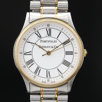 Portfolio by Tiffany & Co. Stainless Steel Two Tone Quartz Wristwatch