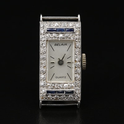Platinum Diamonds and Sapphires Quartz Watch