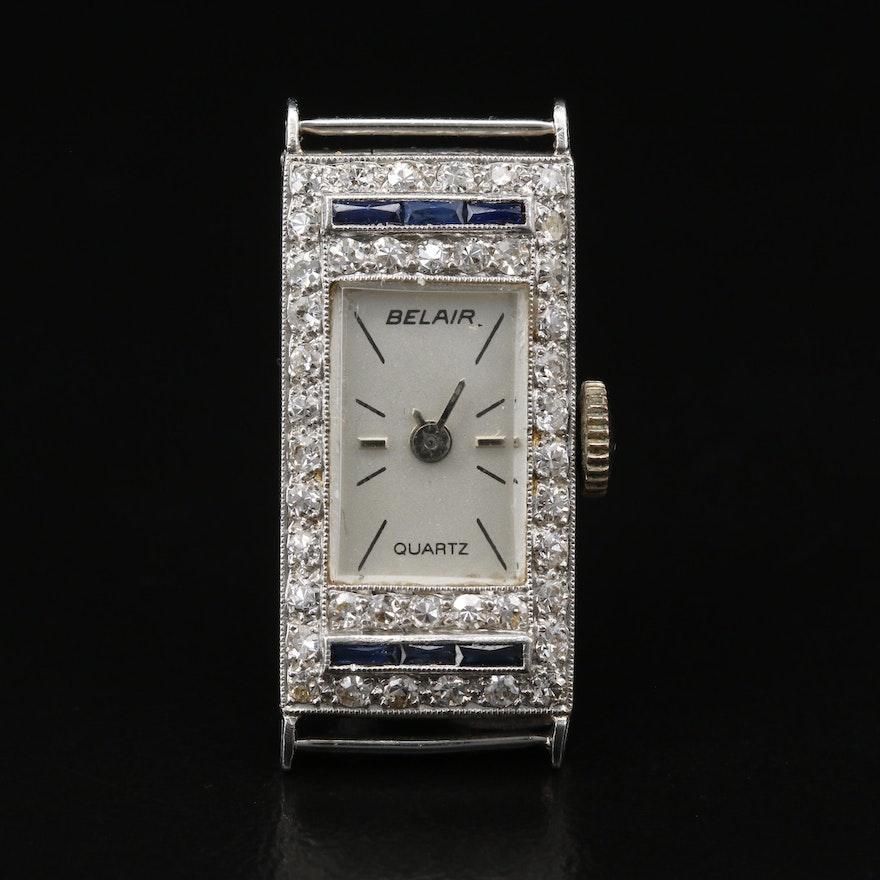 Platinum Diamonds and Sapphires Quartz Watch