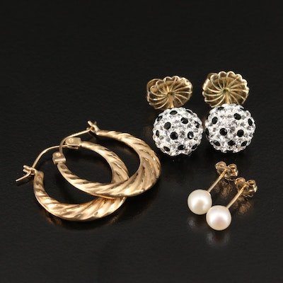 14K Hoop and Stud Earrings Including Pearls