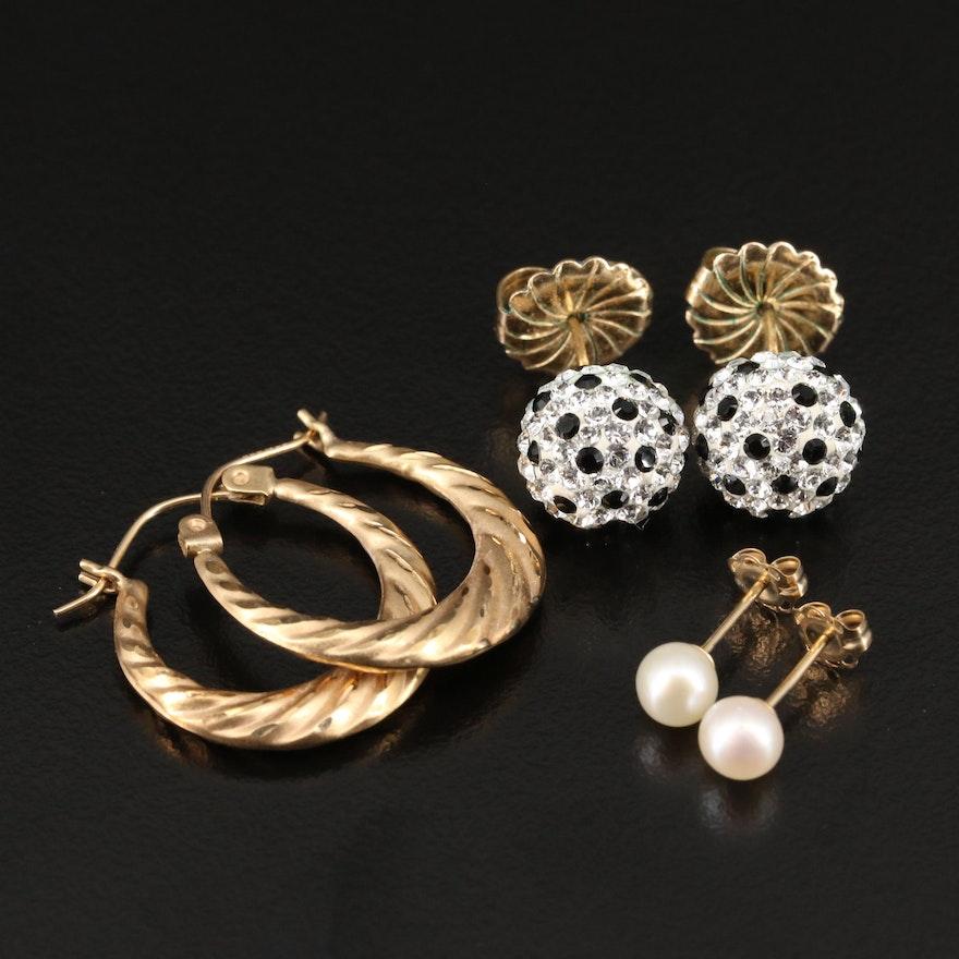 14K Hoop and Stud Earrings Including Pearls
