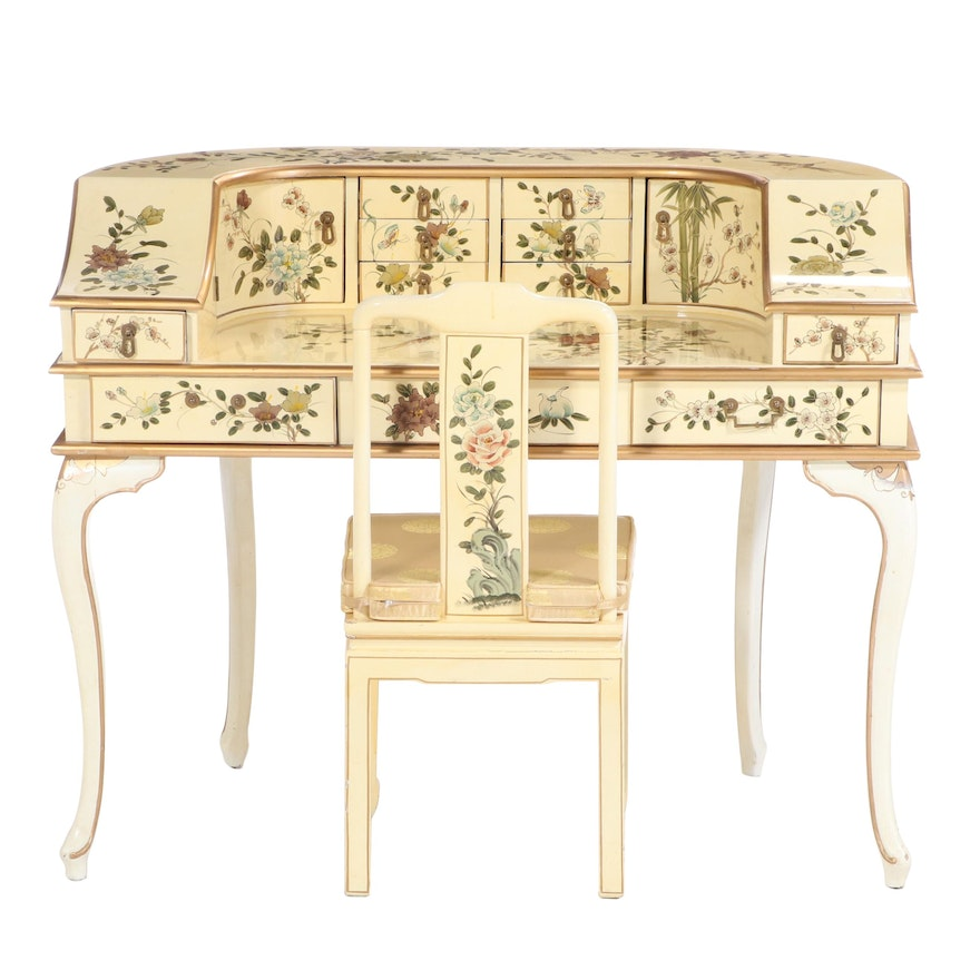 Lacquered, Parcel-Gilt, and Chinoiserie-Decorated Carlton House Desk and Chair