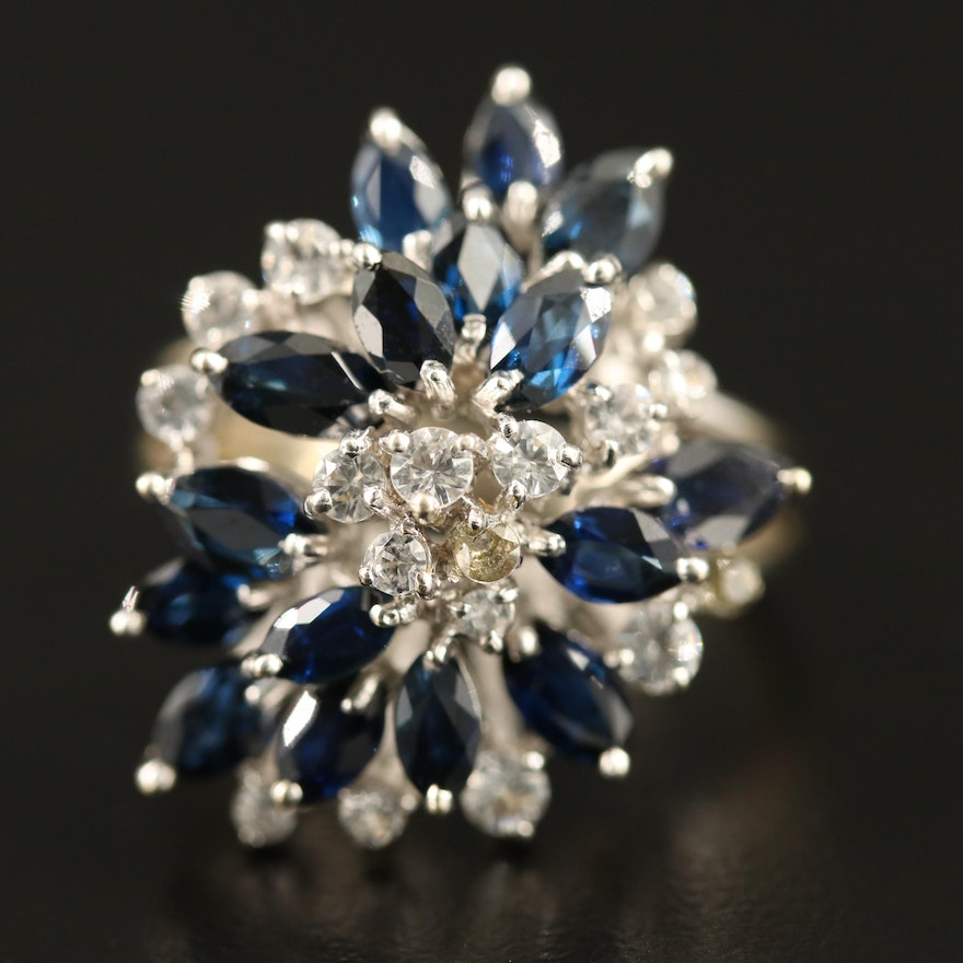 14K Sapphire and White Spinel Cluster Ring