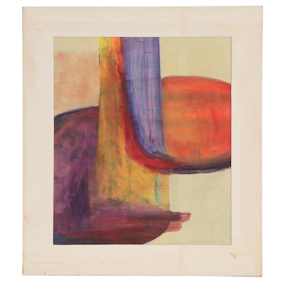 Charles Bradley Nelson Abstract Watercolor Painting, 1975