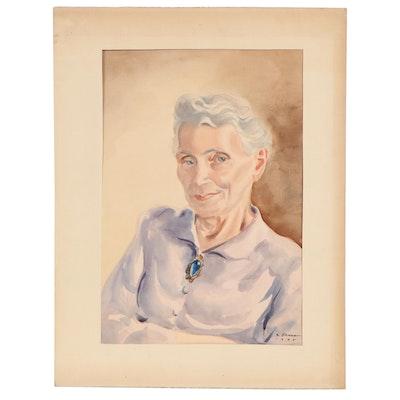 Joseph Di Gemma Portrait Watercolor Painting, 1948