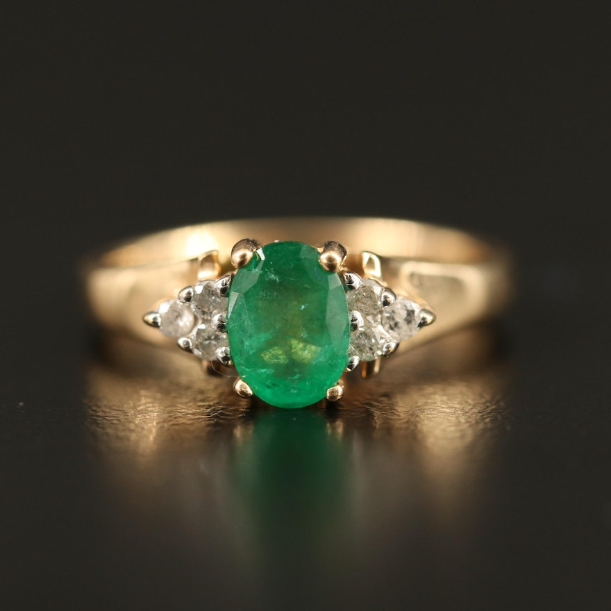 14K Emerald and Diamond Ring