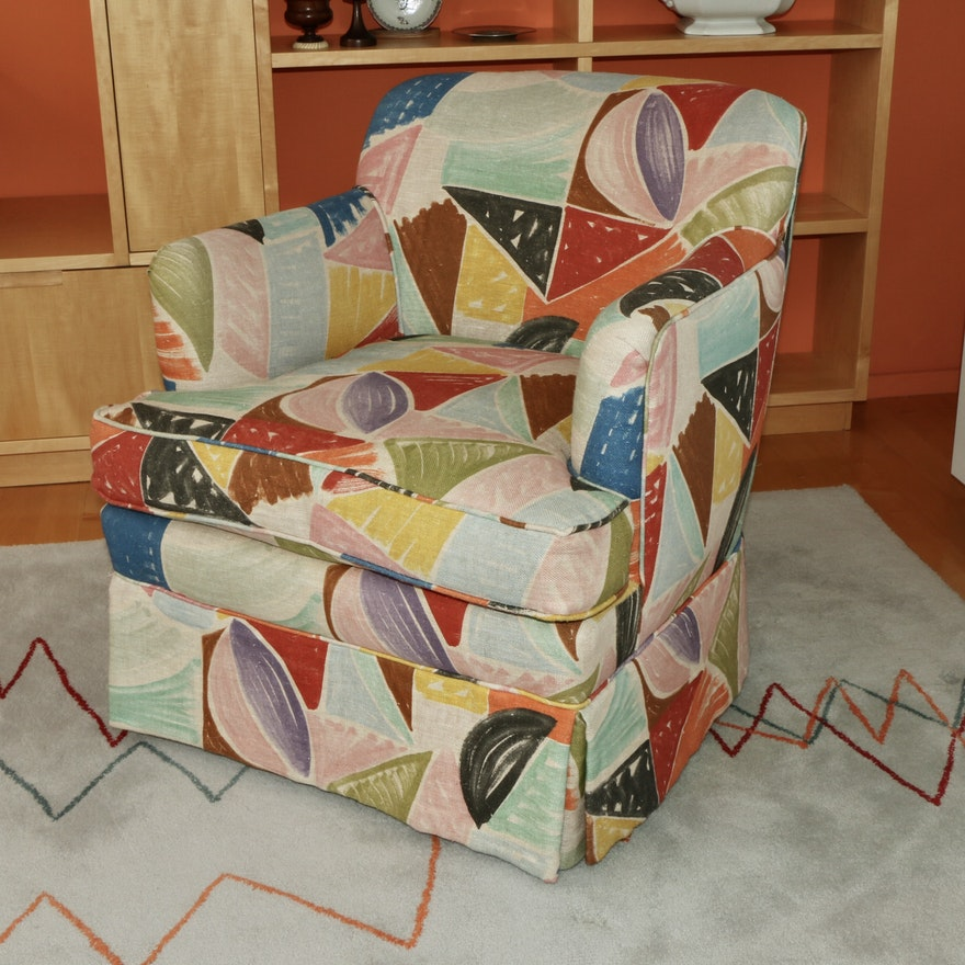 Modern Style Multicolor Upholstered Club Chair, Mid to Late 20th Century