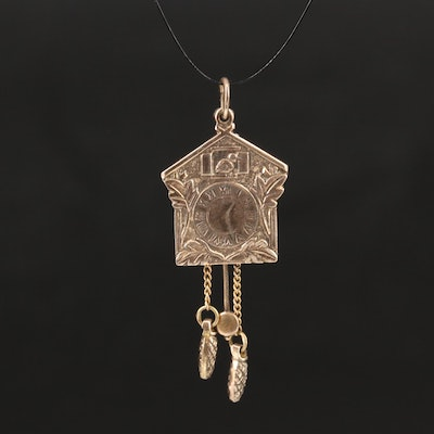 Vintage 10K Articulated Cuckoo Clock Pendant