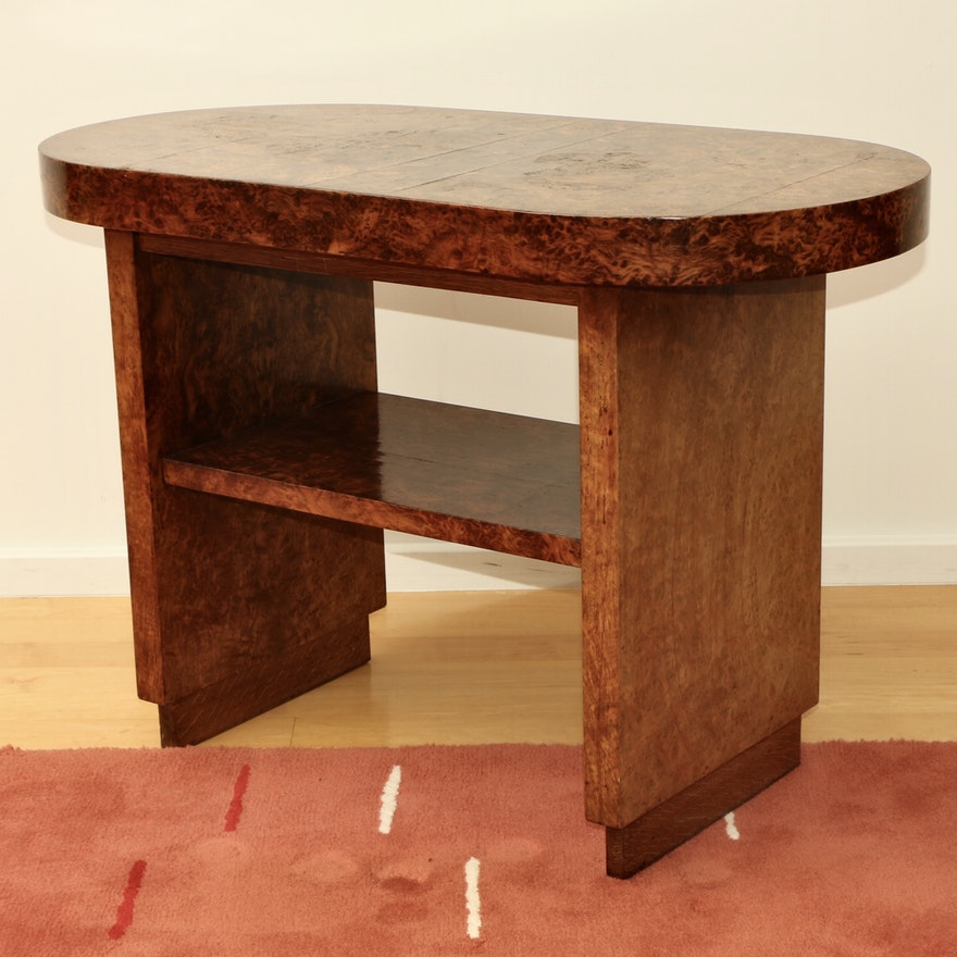 H. Pander and Zonen Dutch Art Deco Mixed Burled Veneer Hall Table
