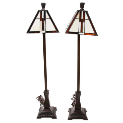Arts and Crafts Style Stained Glass and Bronze Finish Table Lamps, Contemporary