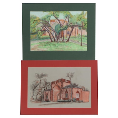 Scott Thompson Pastel Drawings of House Views, Late 20th Century