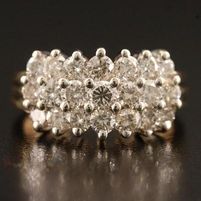 14K Triple Row 1.90 CTW Diamond Ring