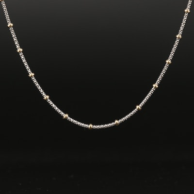 14K Popcorn Chain Pendant Necklace