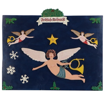German Painted Wood Carving of Christmas Angels, Late 20th Century
