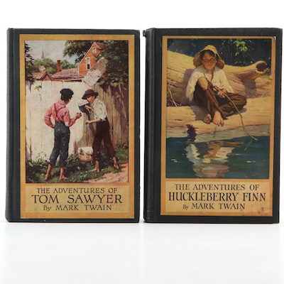 "Illustrated ""The Adventures of Tom Sawyer"" and ""Huckleberry Finn"" by Twain"