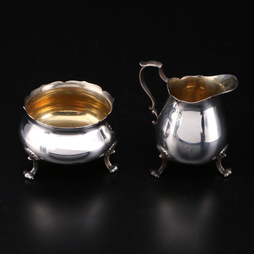 Poole Silver Co. Sterling Creamer and Sugar Dish, Mid to Late 20th Century