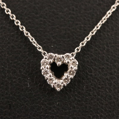 18K Diamond Heart Slide Pendant Necklace