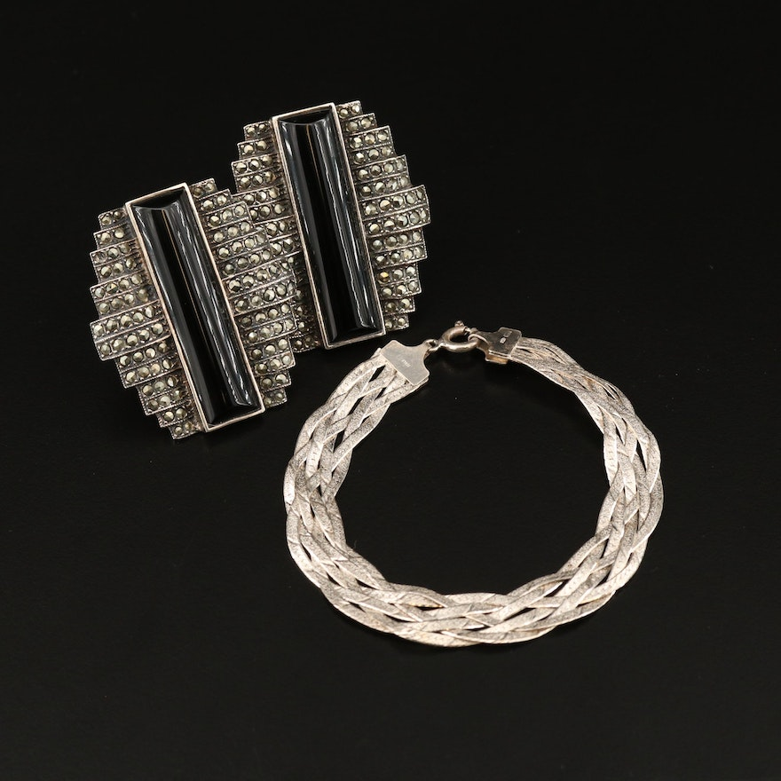 Judith Jack Black Onyx and Marcasite Earrings with Braided Herringbone Bracelet