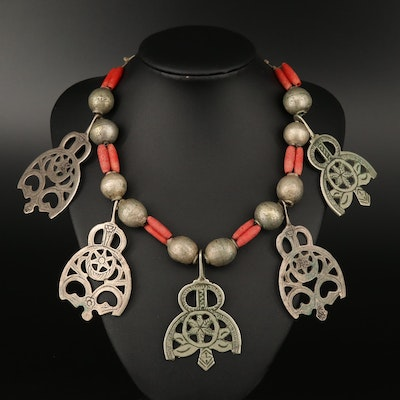 Middle Eastern Style Beaded Necklace Featuring Sterling Silver and Coral