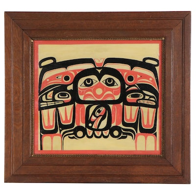 Pacific Northwest Native American Style Oil Painting, Mid-20th Century