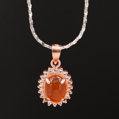 Sterling Opal and White Topaz Halo Pendant Necklace